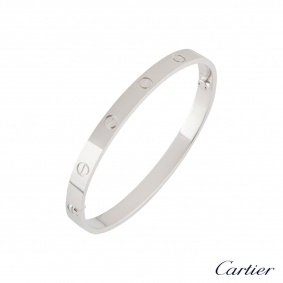 Cartier White Gold Plain Love Bracelet Size 17 B6035417